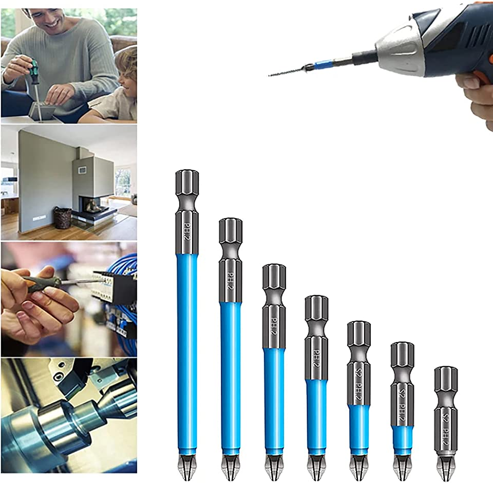 Magnetic Anti-Slip Drill Bit 7pcs Anti Slip Screw Extractor and Magnetic Screwdriver Bit Set,Anti Slip Cross Bit Set,Magnetic Ph2 Screwdriver Bits Set (1 Set)