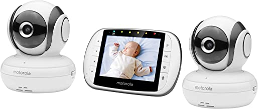 Motorola MBP36S-2 Dual Camera 3.5 Inch Color Screen Video Baby Monitor with Remote Pan, Tilt, and Zoom, Two-Way Audio, and Room Temperature Display