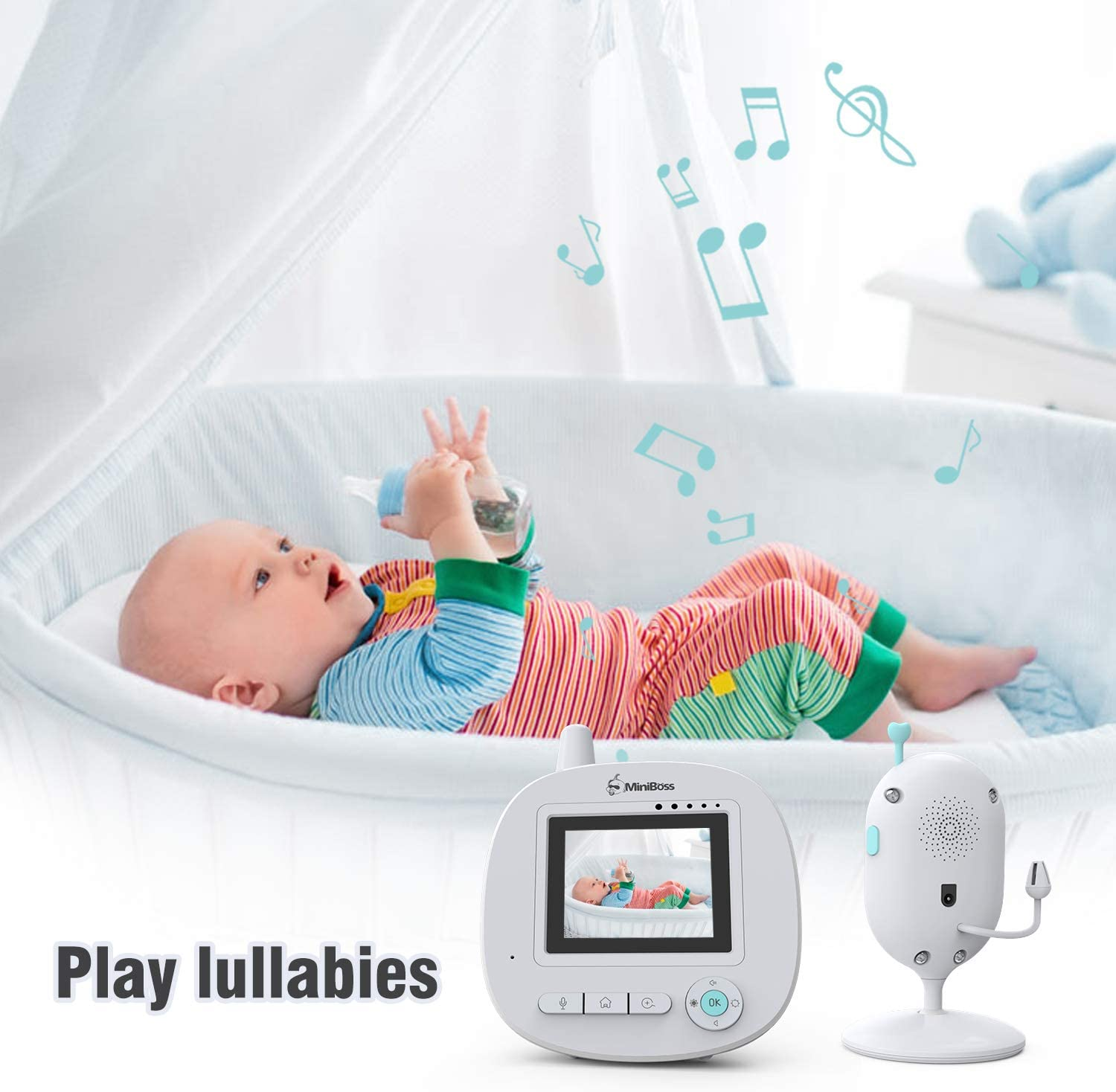 MiniBoss Baby Monitor with Camera 2.4 LCD Video Audio Digital Camera Wireless Transmission with 960ft Range Two-Way Talk Infrared Night Vision Temperature Lullabies ECO Mode Remote Pan-Tilt-Zoom