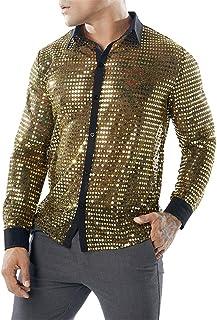 Men's Longsleeve Long Sleeve Shirt Sexy Slim Fit with Kent Collar Sequin Shirt 70S 80S Disco Shirt Shiny Blouse Costume Ou...