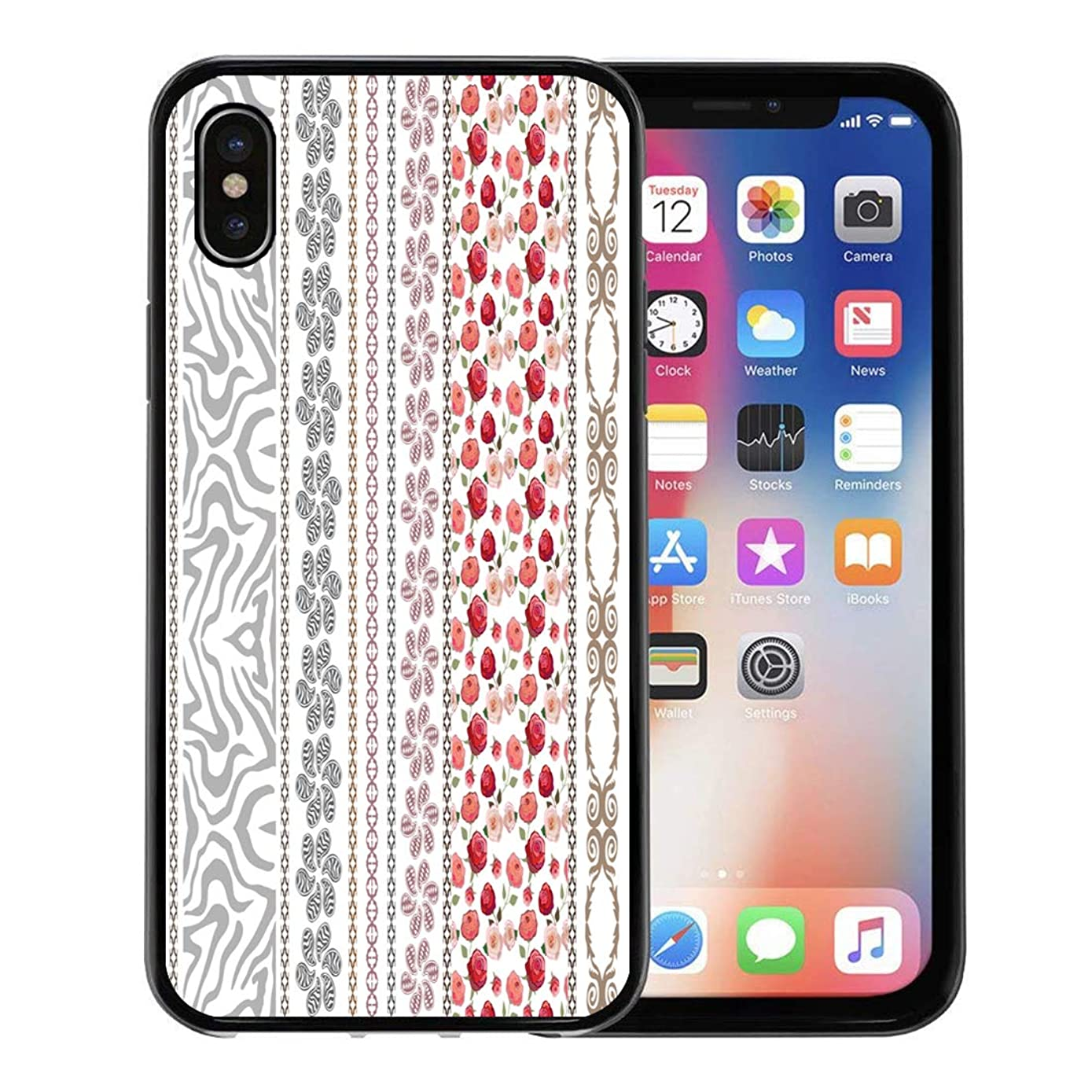 Semtomn Phone Case for Apple iPhone Xs case,Lace Looking Vintage Silk Bohemian and Floral Patterns Zebra Paisley Borders Roses Ethnic Collection for iPhone X Case,Rubber Border Protective Case,Black