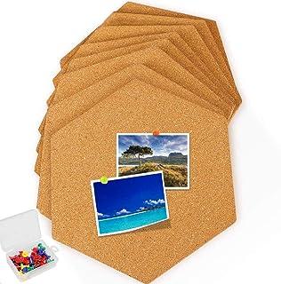 8 Pack Self-Adhesive Cork Board Tiles Mini Wall Bulletin Board with 35 Multi-Color Push Pins