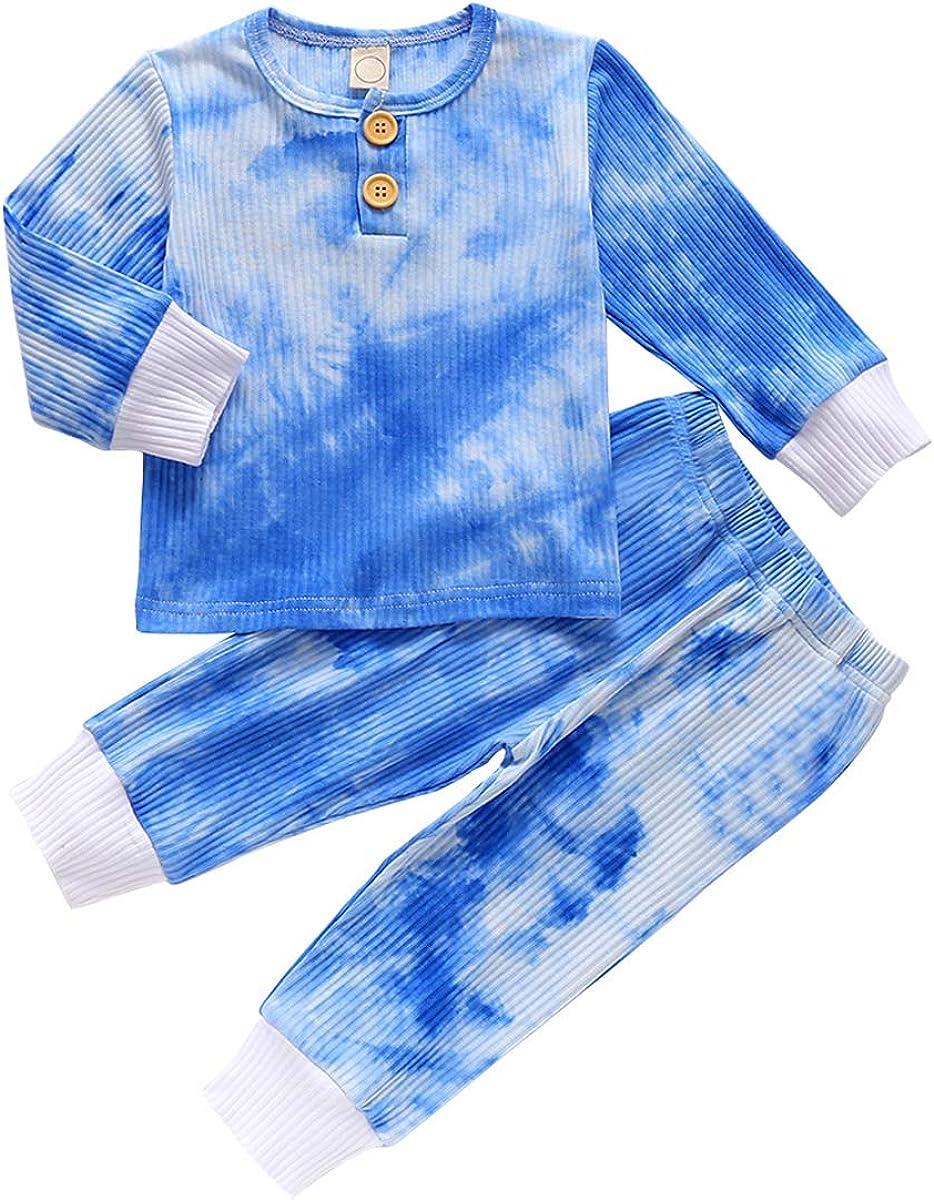 Baby Boys Pant Set Tie Dye Printed Long Sleeve Hoodie Tops+Pants Sweatshirt 2Pcs Outfits Fall Winter Clothes Set