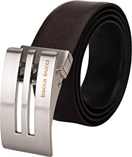Bacca Bucci Men's Reversible Classic Dress belt Italian Top Grain Genuine leather Black and Brown with rotating Metal Buck...