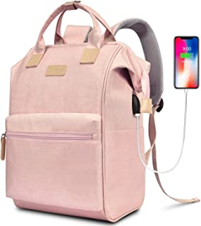 BRINCH Laptop Backpack 14.6 Inch Wide Open Computer Backpack Laptop Bag College Rucksack Water Resistant Business Travel Backpack Multipurpose Casual Daypack with USB Charging Port for Women,Pink