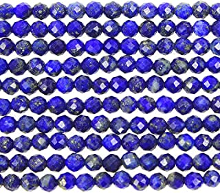 MJDCB 3mm Faceted Natural Lapis Lazuli Round Loose Beads for Jewelry Making DIY Bracelet Necklace