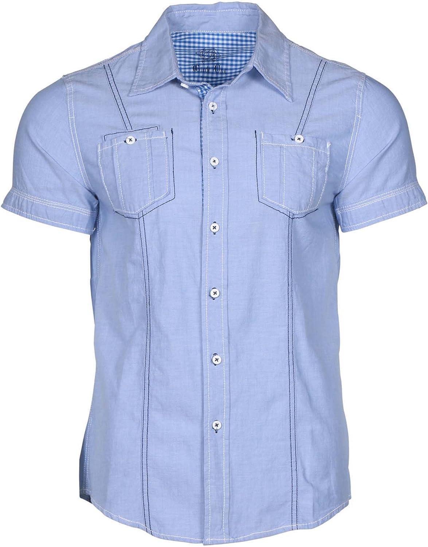 Circle One Men's Short Sleeve Casual Button Down Shirt-Lt Blue Chambray-Medium