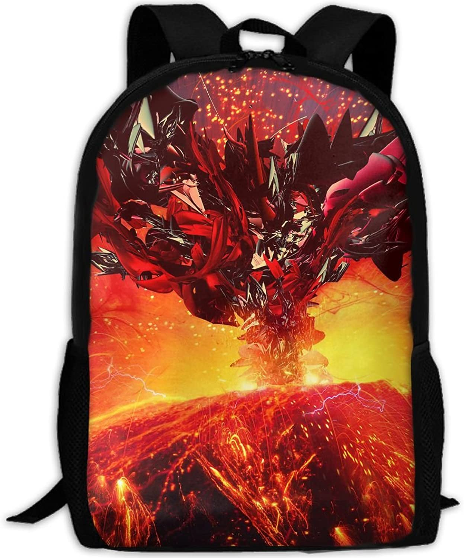 Adult Backpack Volcano Eruption Fire College Daypack Oxford Bag Unisex Business Travel Sports Bag with Adjustable Strap