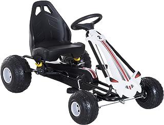 Coche de Pedales Go Kart Racing Deportivo con Asiento Ajustable Embrague y Freno Juguete Exterior 101.5x65.5x59.5cm Marco Hierro Blanco y Negro