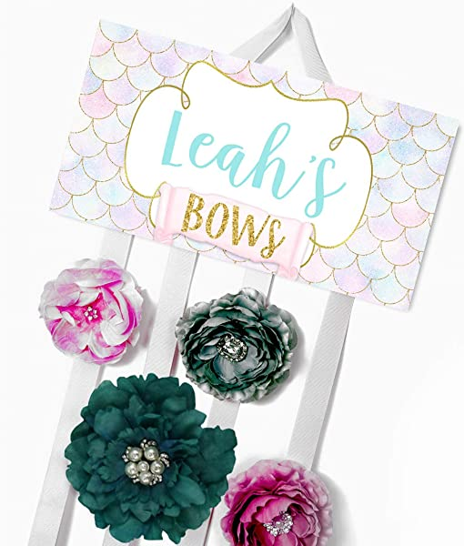 Hair Bow Holder Personalized Mermaid Scales Bow Holder Bows And Clips Organizer Girls Personal Hair Bow Clip Holder HB0254