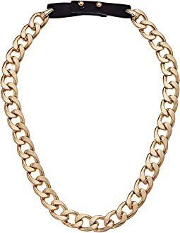 Curb Chain Leather Strap Necklace