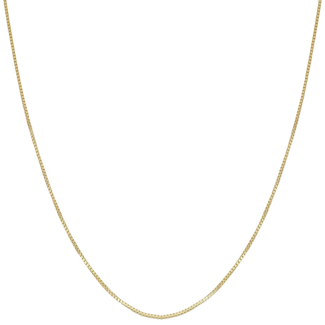 空スクラッチカフェVerona Jewelers 18K純金 0.6mmボックスチェーン スクエアボックスチェーンネックレス 18Kゴールドネックレス 18Kゴールドペンダントチェーン 16 18 20