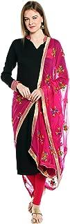 Indian Phulkari Embroidered Chiffon Dupatta Stole for Women/ Designer Ethnic Lace Border Scarf Shawl/Chunni
