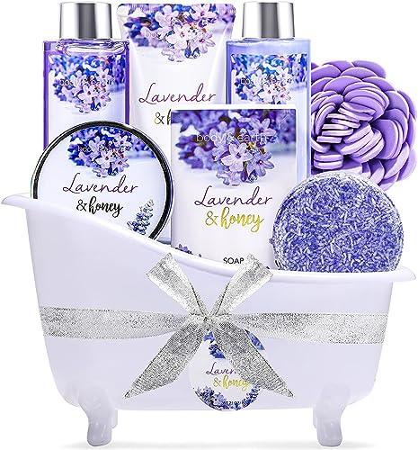 Coffret de Bain & Douche pour Femme et la fête des mères, Body&Earth 8 Pièces Coffret Cadeau au Parfum de Lavande et ...