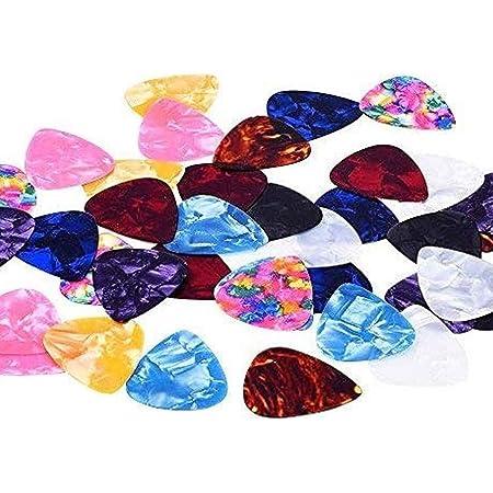 JZZJ Colore Misto 0.46mm Celluloide Chitarra Plettri Chitarra a Plettro Plettri Sottili con Scatola di Metallo,40 Confezione