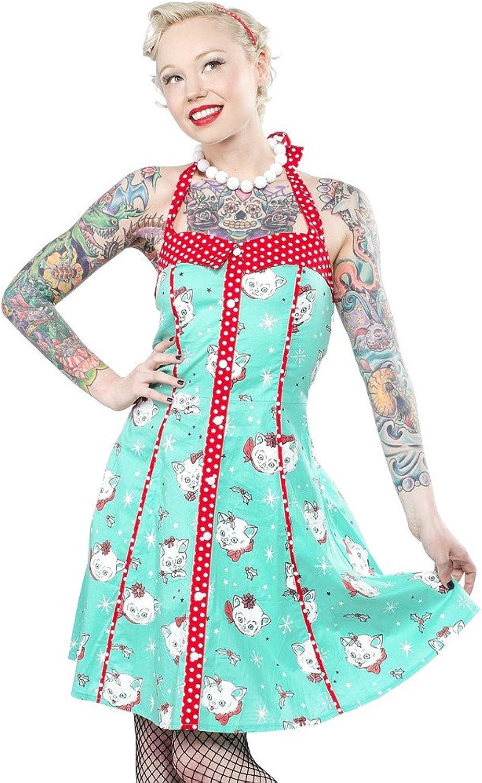 bluee Lizzie Christmas Kitties Dress from Sourpuss Clothing