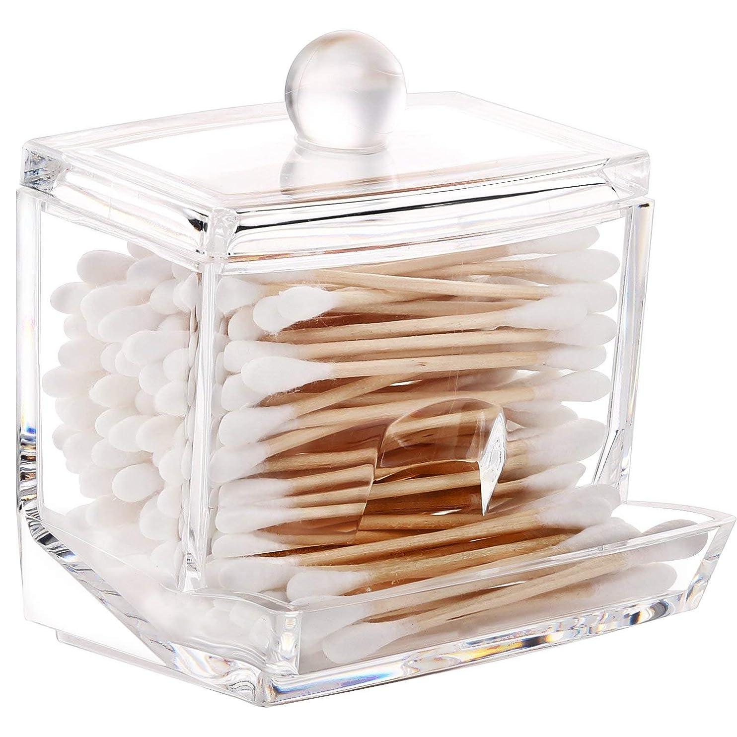 敬礼システムなんとなくFlou@ 棉棒ボックス 透明 蓋付き 防塵 コスメケース 小物収納 コットンケース 綿棒ケース アクリル製