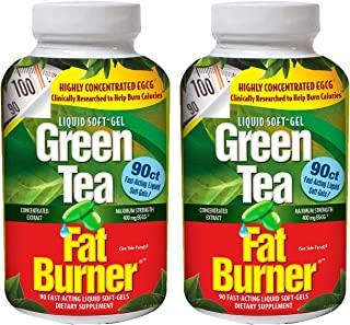 Applied Nutrition Green Tea Fat Burner, Maximum Strength with 400 mg EGCG, Fast-Acting, 90 Liquid Soft-Gels (Pack of 2)