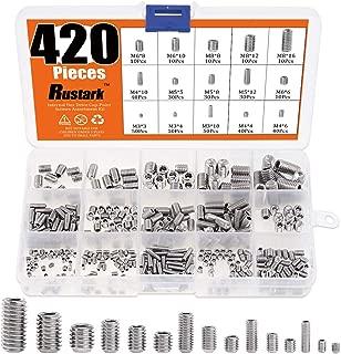 Rustark 420Pcs M3/M4/M5/M6/M8 Allen Head Set Screws Bolts Socket Assortment Kit with Internal Hex Drive Cup Point - 304 Stainless Steel