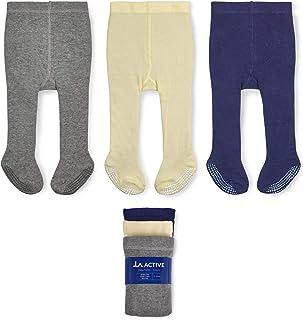 LA Active Collants Fille - 3 Paires - Bébé Enfant Bas âge Enfant Antidérapants/Antiglissements Coton (Gris/Crème/Bleu Mari...