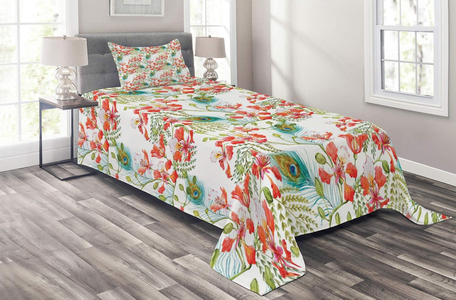 Ambesonne Spring Coverlet Peacock Feather Petunia Limited time Baltimore Mall cheap sale Blossom Field