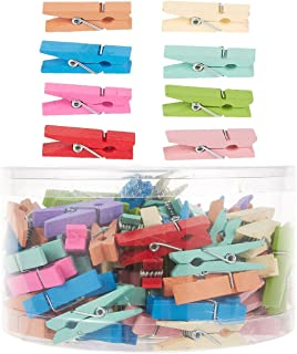 Juvale 120 Piece Set of Small Wooden Wood Clothespins - Strong Laundry Pegs Art DIY Project Craft Clips with Springs, Multicolored