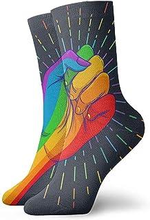 ONGH, Arco Iris De Color Mano Con Un Puño Levantado. Orgullo gay. Lgbt Concept Calcetines de mujer y hombre Calcetines de fútbol Medias de tubo deportivo Longitud 11.8 pulgadas