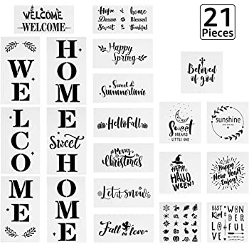21 PCS Seasonal Welcome and Home Sign Stencils Set, 15PCS Seasonal Holiday Stencils, 3 PCS Welcome Stencils, 3 PCS Sweet Home Stencils, Reusable Templates for Painting on Wood, Art Projects Crafts (A)