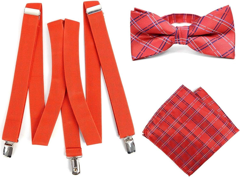 Men's 3 PC Clip-on Suspenders, Bow Tie & Hanky Sets