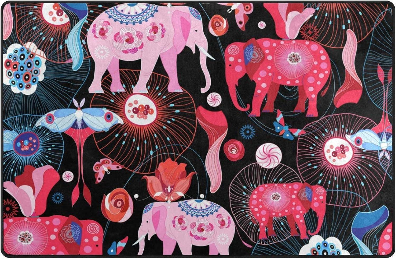 DEZIRO Bright Elephants Floor mats for Home Entry Way Area Rug Doormat Carpet shoes Scraper Anti-Slip Washable