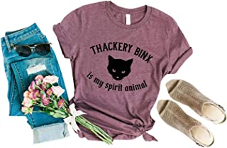 Thackery Binx is My Spirit Animal T-Shirts Women Funny Halloween Black Cat Graphic Printing Tee