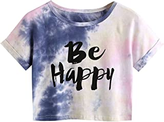 Women's Tie Dye Letter Print Crop Top T Shirt