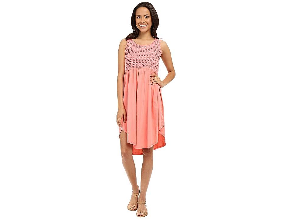 Mod-o-doc Supreme Jersey Eyelet Panel Tank Dress (Cafe Coral) Women