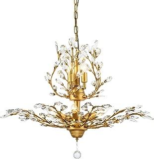 Garwarm 8-Light Vintage Crystal Chandeliers Ceiling Lights LED Light Crystal Pendant Lighting Ceiling Light Fixtures Chandeliers Lighting for Living Room Bedroom Restaurant Porch Chandelier(Bronze)