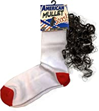 American Mullet Socks Funny Mullet Gags Novelty Rockabilly Socks One Size Fits Most Weird Athletic Socks with Fake Hair Party in the Back Unisex Stocking Stuffers White Elephant