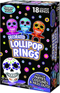 Halloween Day of the Dead Sugar Skull Lollipop Rings, Box of 18
