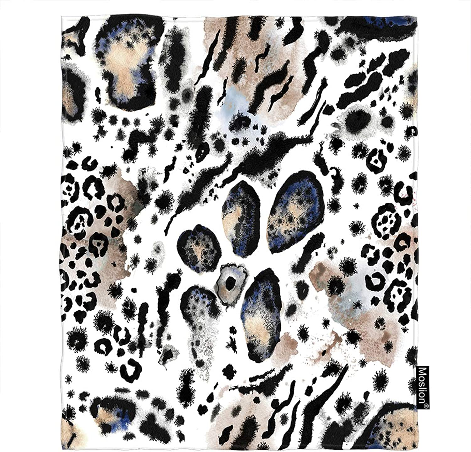 Moslion Leopard Throw Blanket Wild Animal Tiger Lion Snake Leo Skin Fur Spots Stripes Blanket Home Decorative Flannel Warm Travel Blankets 5060 Inch for Couch Bed