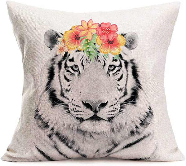 Asamour Tiger Throw Pillow Covers Adorable Animal With Beautiful Flower Wreath Cotton Linen Farmhouse Decorative Cushion Cover 18 X18 Square Accent Pillow Cases For Sofa Couch Tiger
