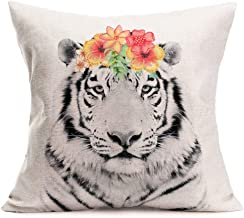 Asamour Tiger Throw Pillow Covers Adorable Animal with Beautiful Flower Wreath Cotton Linen Farmhouse Decorative Cushion Cover 18''x18'' Square Accent Pillow Cases for Sofa Couch (Tiger)