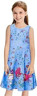 Funnycokid Girls Sleeveless Dress Kids Printed Casual Summer Sundress 4-13 Year