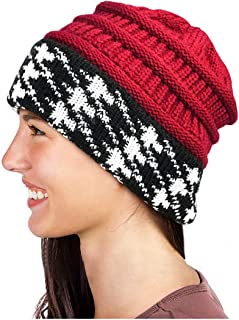 Glamorstar Winter Houndstooth Knit Hat Cable Soft Stretch Knit Beanie Hat for Women