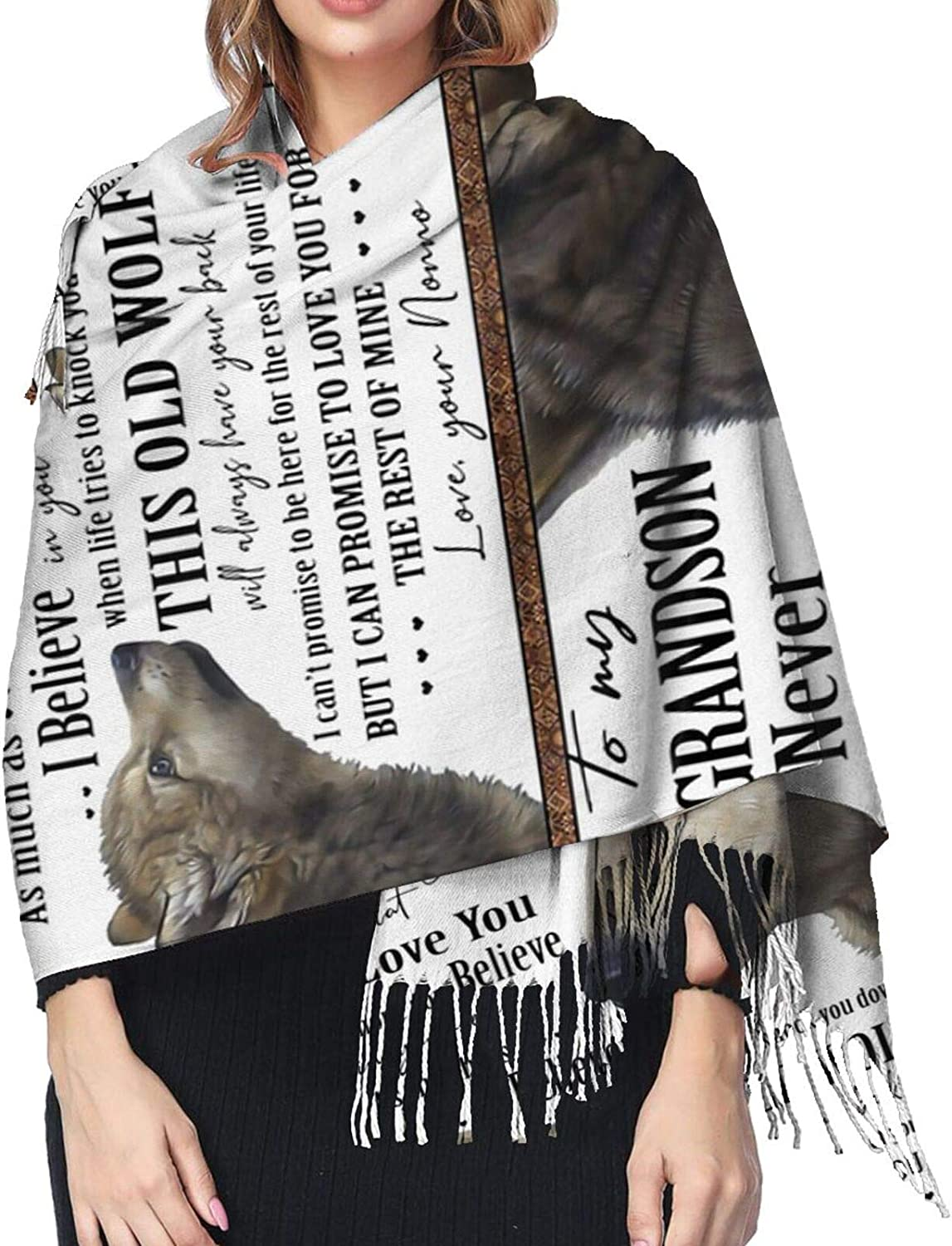 To My Grandson Cashmere Feel Scarf Lightweight Soft Scarfs For Boys Girls Creative Warm Cold Weather Blanket Scarf