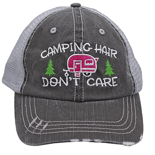 df183bd558d Sun Nowa Hot Pink Camping Hair Don t Care Women Embroidered Trucker Style Cap  Hat