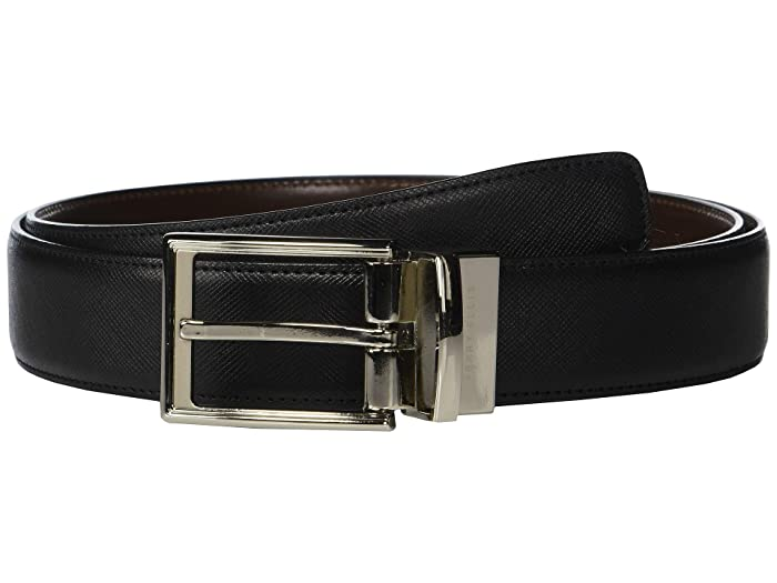 Perry Ellis Portfolio  Saffiano Reversible Belt (Black) Mens Belts