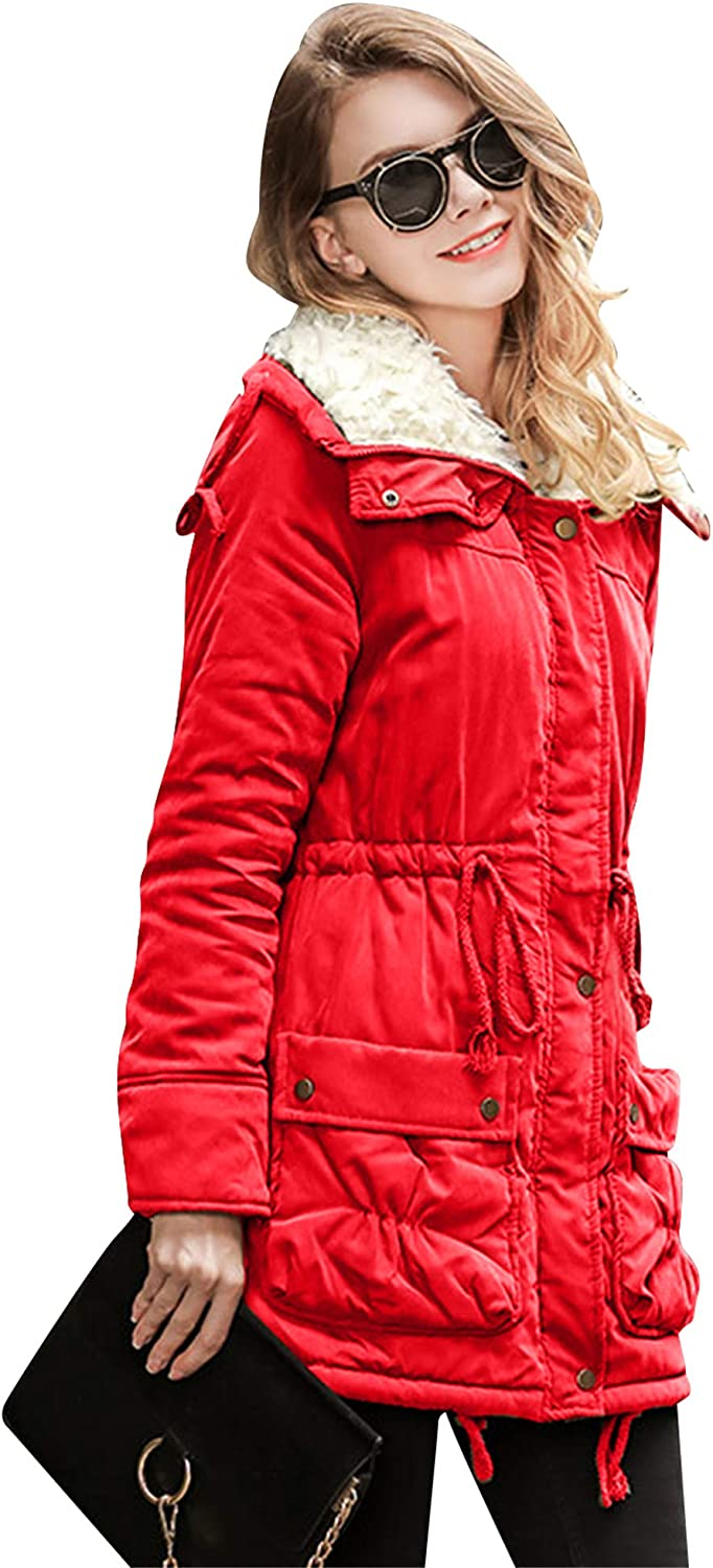 ZICUE Womens Winter Hooded Lapel Cotton Coat with Faux Fur Lined Outerwear Jacket