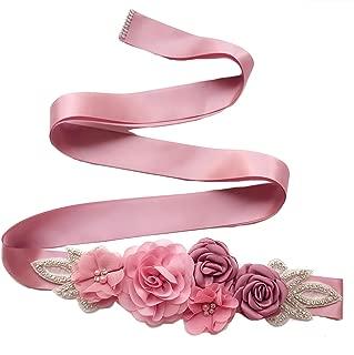 Sash Belt with Flowers Pearls Rhinestone for Wedding Bride/Baby Shower Dress