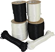SGT KNOTS Dacron Polyester Rope (1/8 inch - 3/8 inch) Solid Braid Black or White - Moisture, Oil, UV, Rot Resistant - Boating, Anchor, Towing, Mooring Lines, Antenna Guy Line (50 ft - 500 ft)