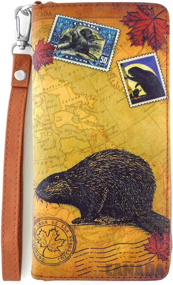 LAVISHY Vintage Style Beaver Of Canada Unisex Vegan Wristlet Wallet