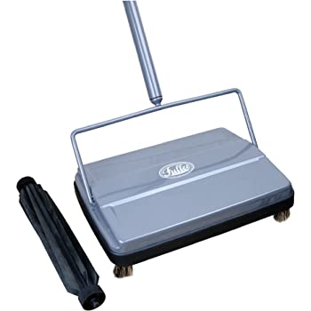 """Fuller Brush 17042 Electrostatic Carpet & Floor Sweeper with Additional Rubber Rotor - 9"""" Cleaning Path - Lightweight - Ideal for Crumby & Wet Messes - Works On Carpets & Hard Floor Surfaces - Gray"""