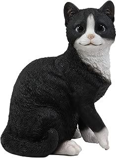 Ebros Lifelike Sitting Tuxedo Black and White Cat with Paw Up Statue 10.25